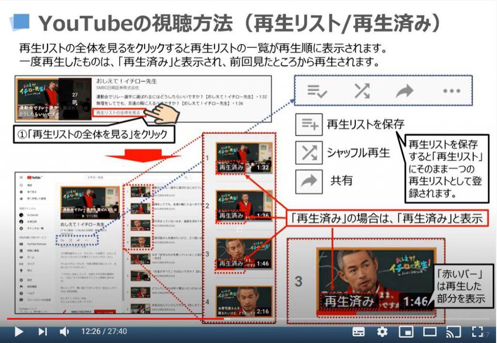 YouTubeの視聴方法(再生リスト/再生済み)