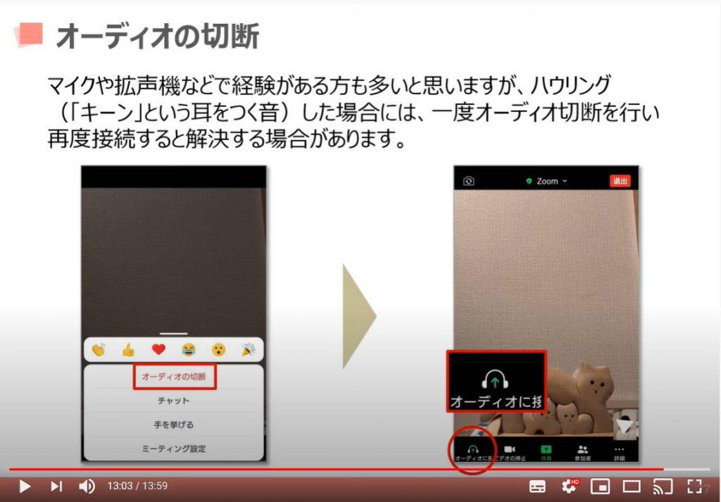 Zoom(ズーム)ミーティングの各機能:オーディオの切断