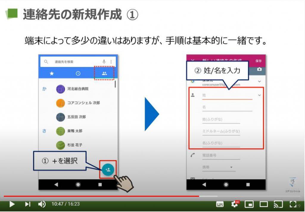 電話アプリの使い方(らくらくスマホ):連絡先の新規作成
