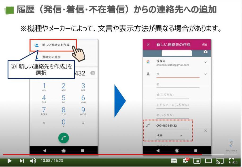 電話アプリの使い方(らくらくスマホ):履歴からの連絡先への追加