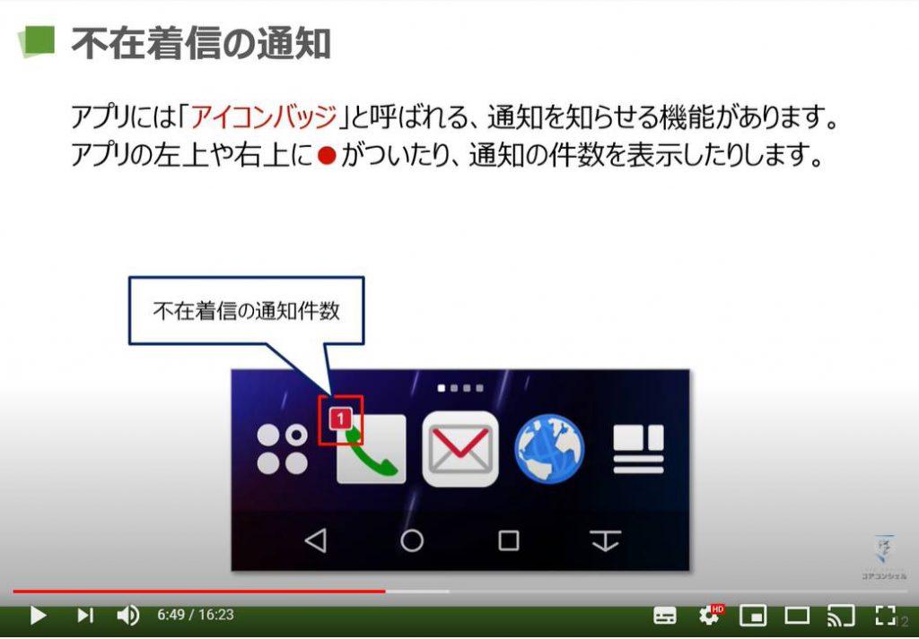 電話アプリの使い方(らくらくスマホ):不在着信の通知