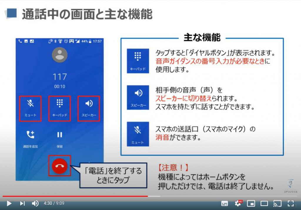 電話アプリ:通話中の画面と主な機能