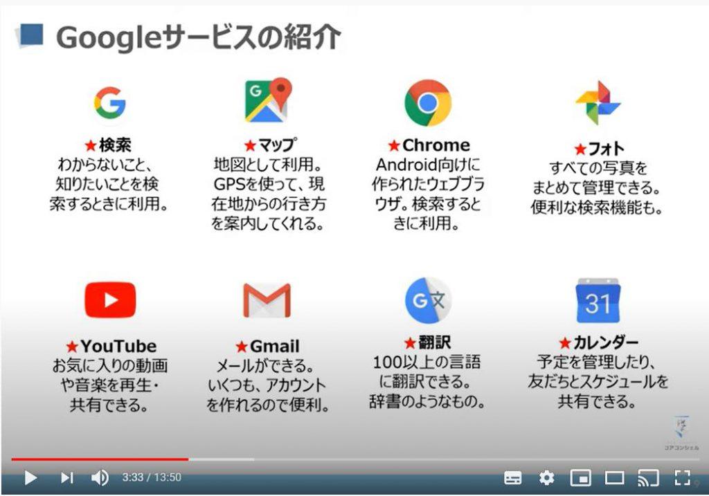 Googleサービス:検索・地図・Playストア・翻訳・メール・フォト・カレンダー等