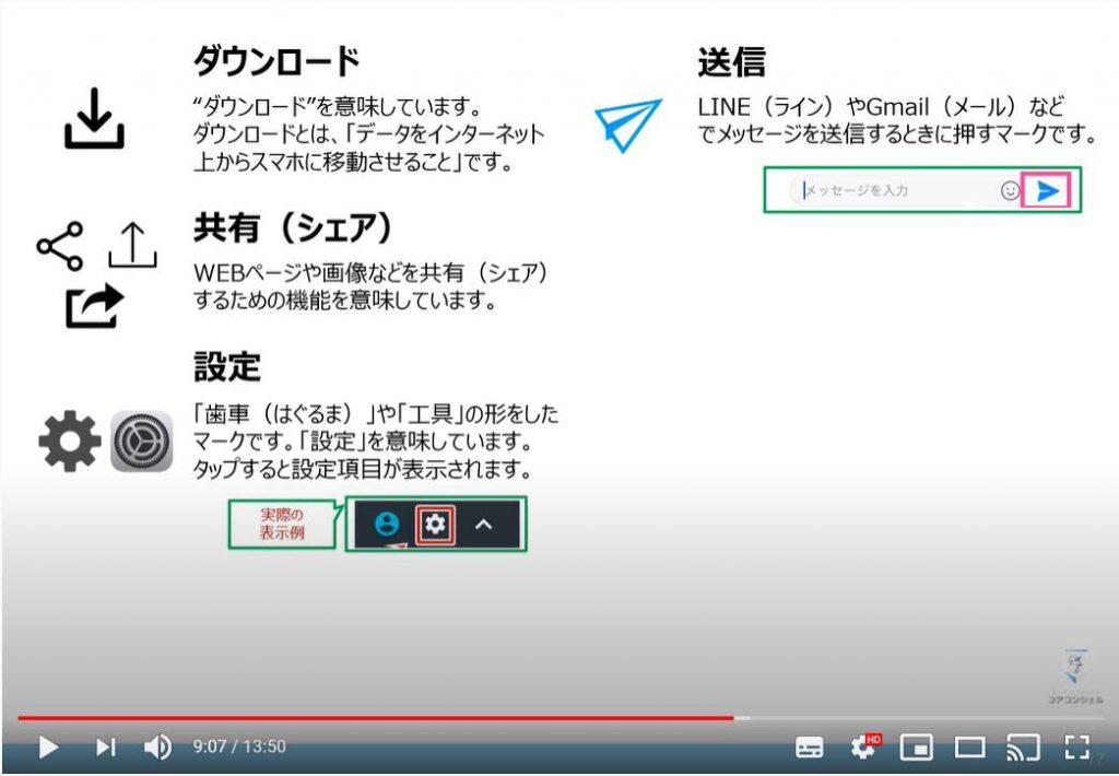 アイコン:ダウンロード・送信・共有・設定