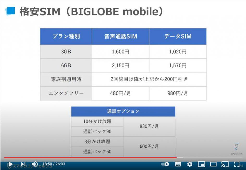 おすすめのキャリア及び格安SIMについて:格安SIM(BIGLOBEモバイル)