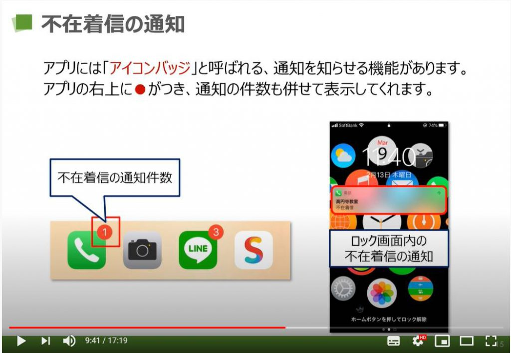 電話アプリ(iPhone):不在着信の通知