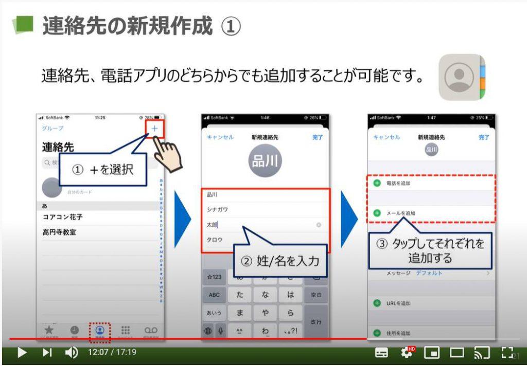電話アプリ(iPhone):連絡先の新規作成方法