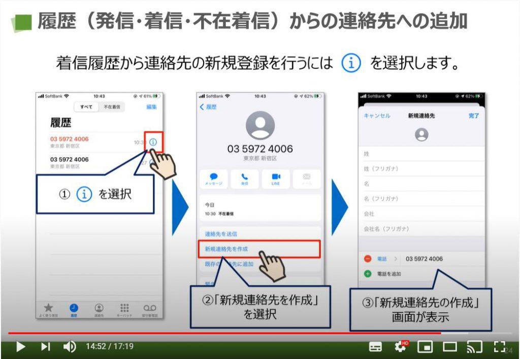 電話アプリ(iPhone):履歴(発信・着信・不在着信)からの連絡先への追加