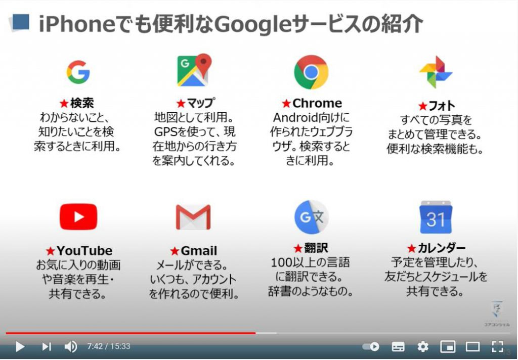 iPhoneでも使うべきGoogleサービス:Googleアプリ・Googleマップ・Chrome・Googleフォト・Google翻訳・Gmail(ジーメール)・YouTube(ユーチューブ)・Googleカレンダー