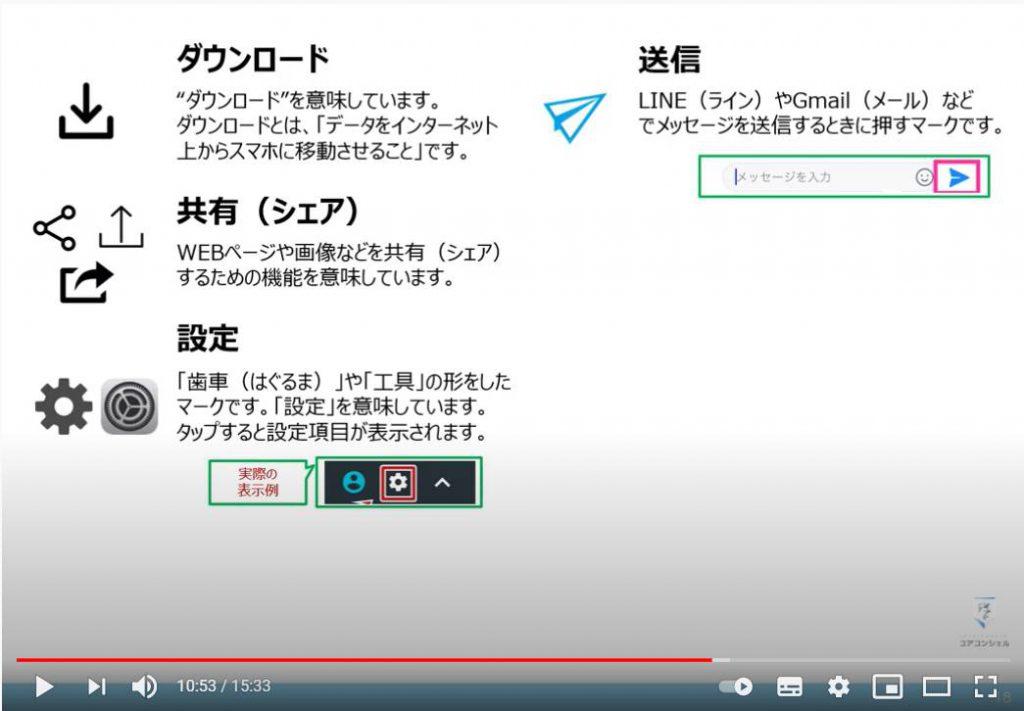 アイコンの種類:ダウンロードアイコン・送信アイコン・共有アイコン・設定アイコン