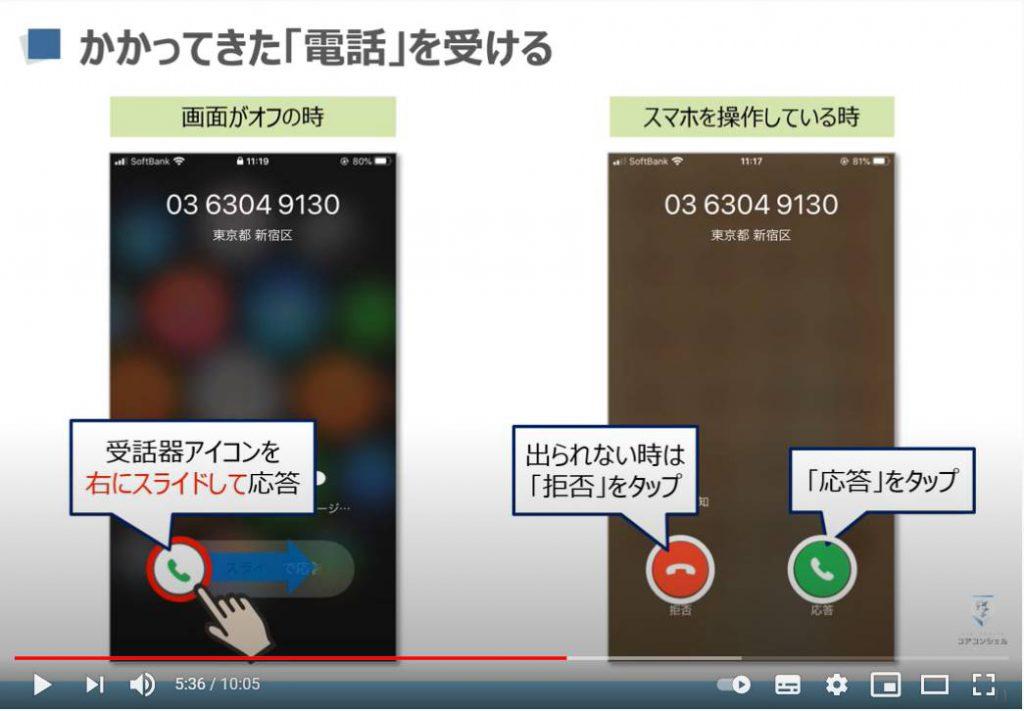電話アプリの使い方:電話を受ける