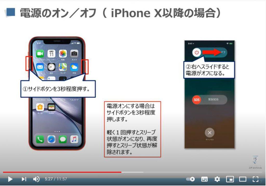 スマホの基本操作:iPhone X以降の電源のオン/オフ