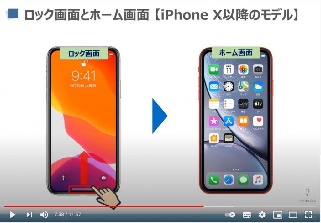 スマホの基本操作:iPhone X以降のロック画面とホーム画面について