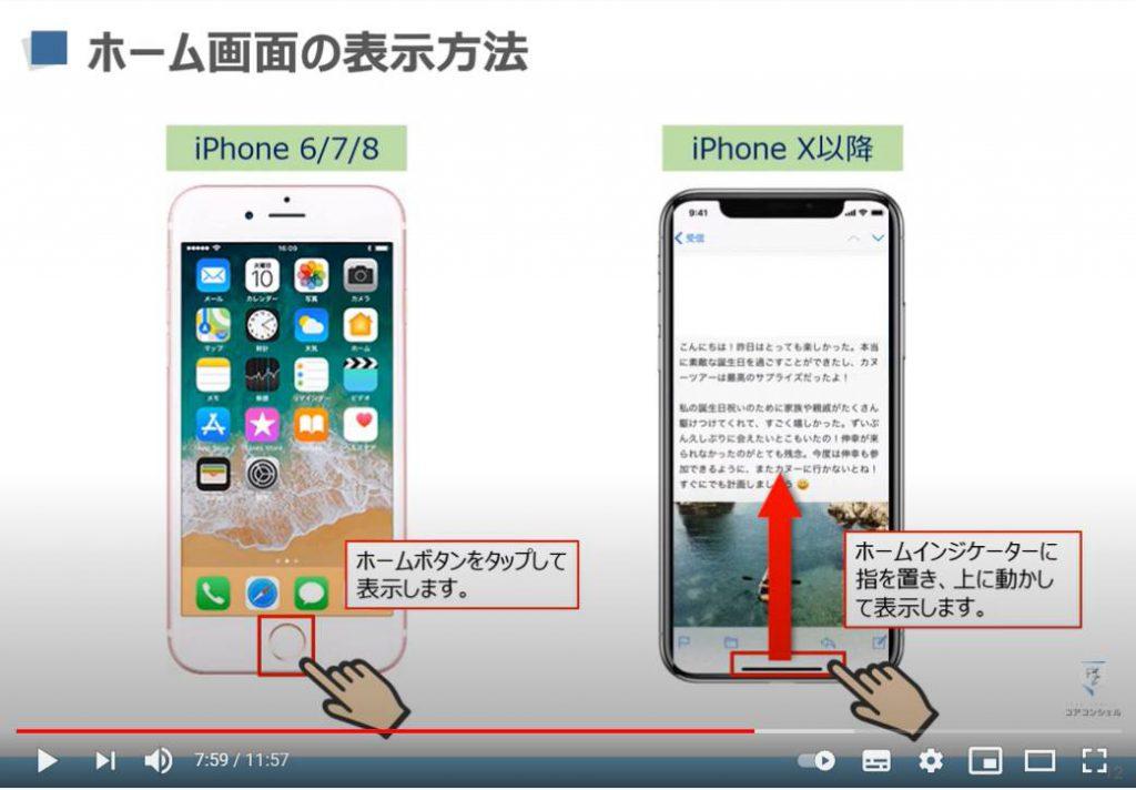 スマホの基本操作:iPhoneのホーム画面の表示方法