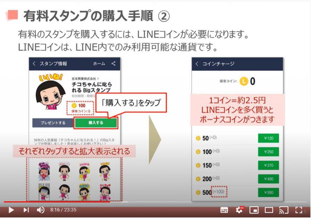 LINEの使い方:有料スタンプの購入方法