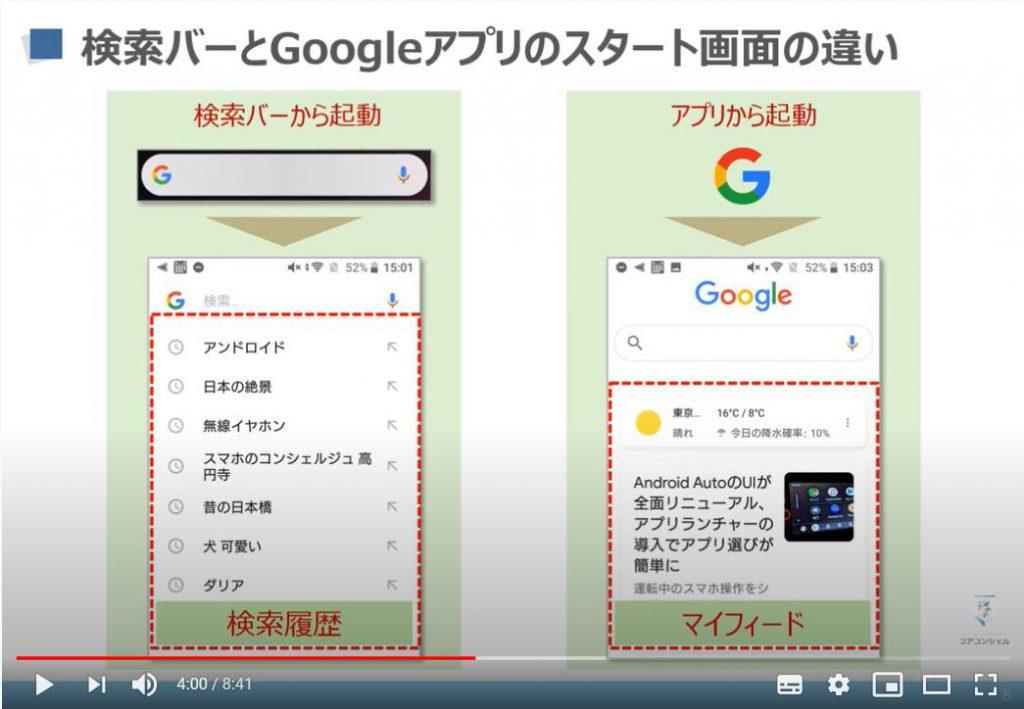 検索バーとGoogleアプリのスタート画面の違い