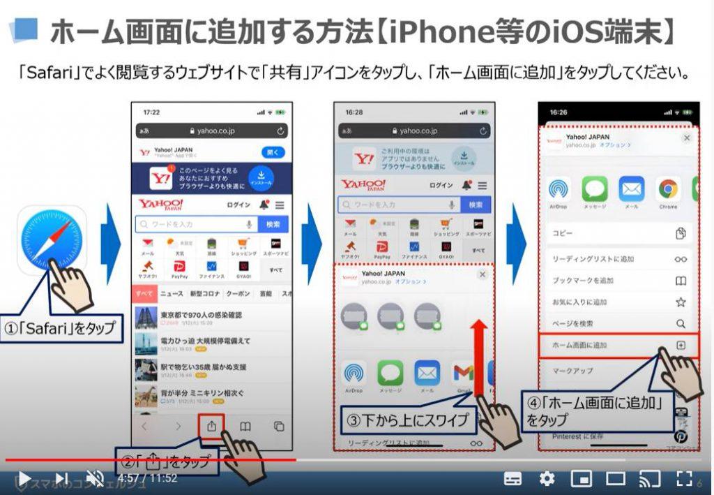 ショートカットアイコンの作成方法:ホーム画面に追加する方法(iPhone等のiOS端末の場合)