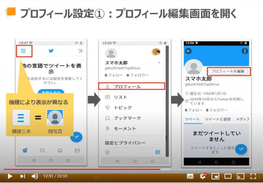 Twitter(ツイッター)の使い方:プロフィールの設定方法