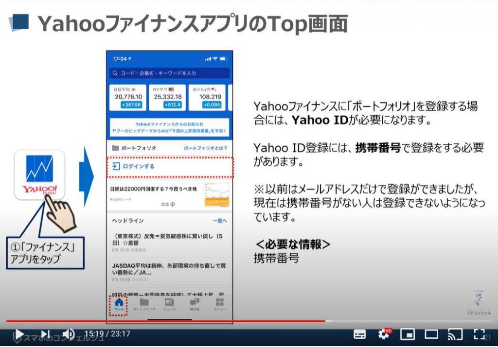 Yahooファイナンスアプリの使い方:Top画面(iPhone)