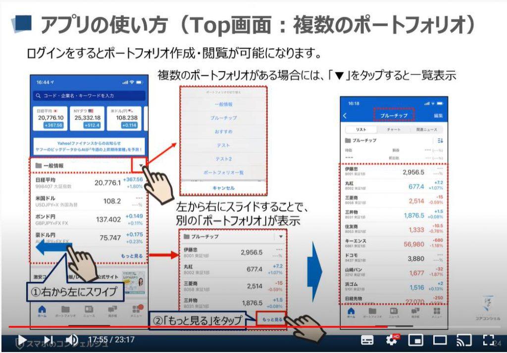 Yahooファイナンスアプリの使い方:複数ポートフォリオ(iPhone)