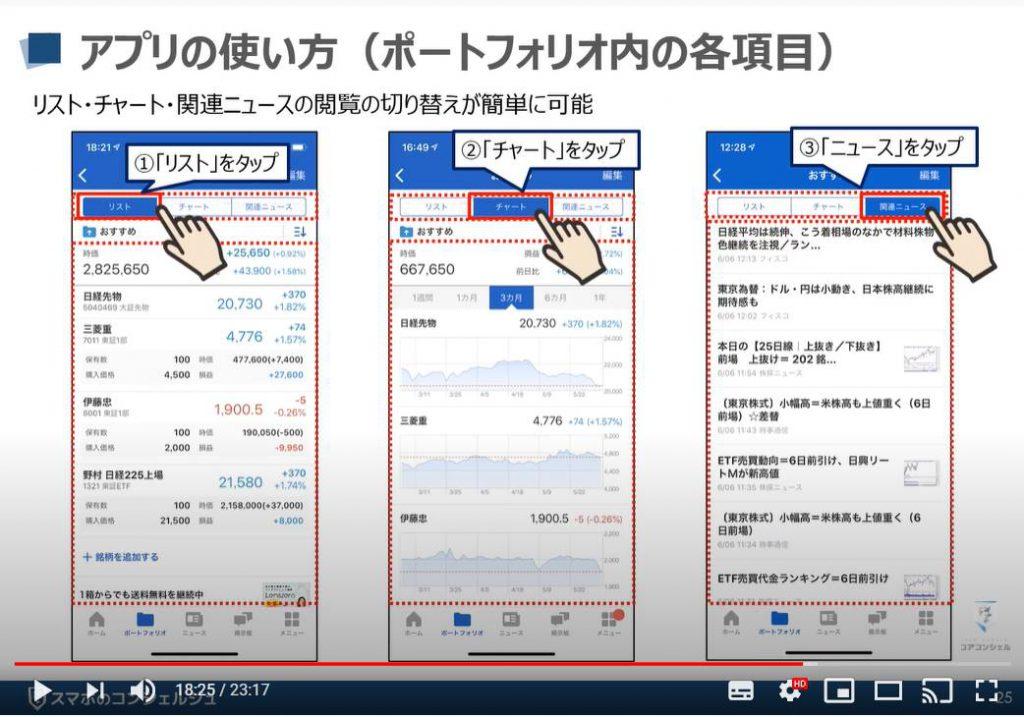 Yahooファイナンスアプリの使い方:ポートフォリオ内の各項目について(iPhone)