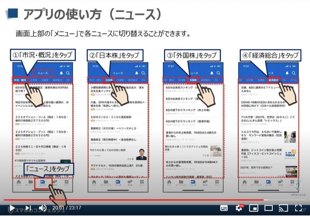 Yahooファイナンスアプリの使い方:ポートフォリオ内のニュースについて(iPhone)