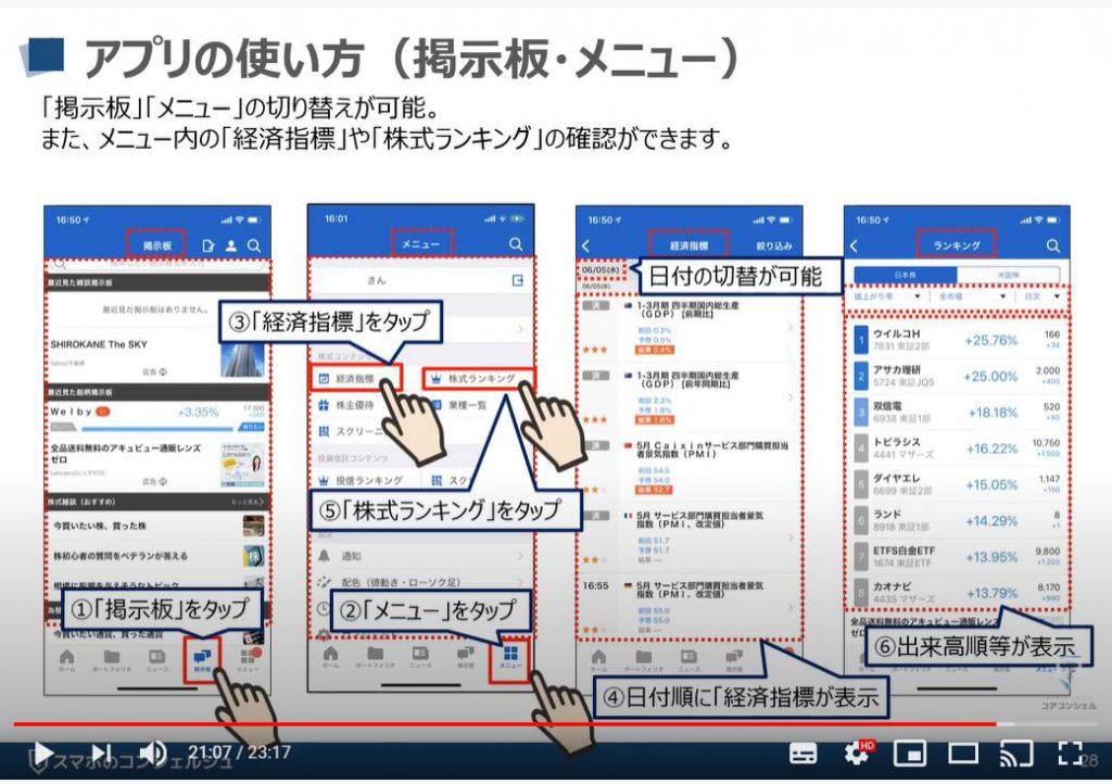Yahooファイナンスアプリの使い方:ポートフォリオ内の掲示板・メニューについて(iPhone)