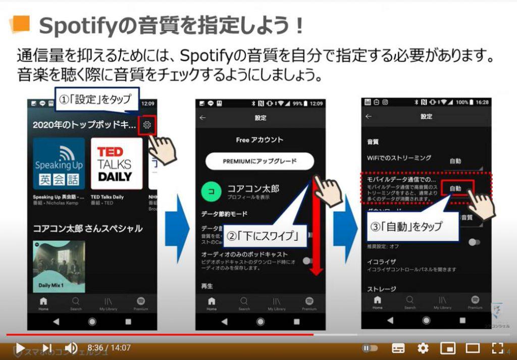 データ通信の消費量(通信量):Spotify(スポティファイ)の音質指定
