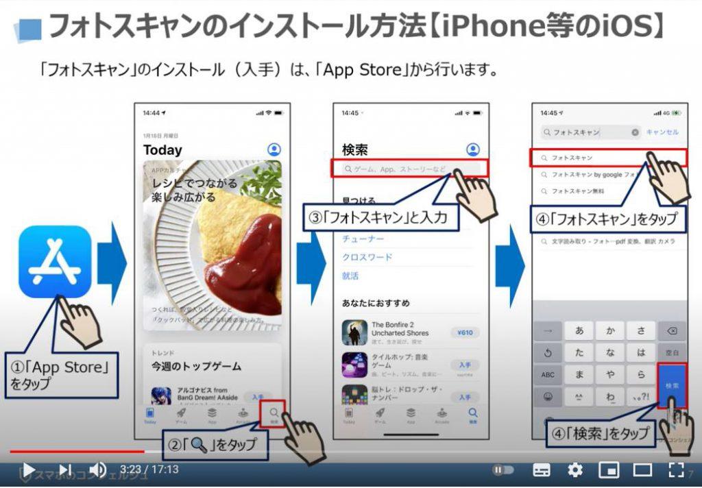 フォトスキャンの使い方:フォトスキャンのインストール方法(iPhone等のiOSの場合)