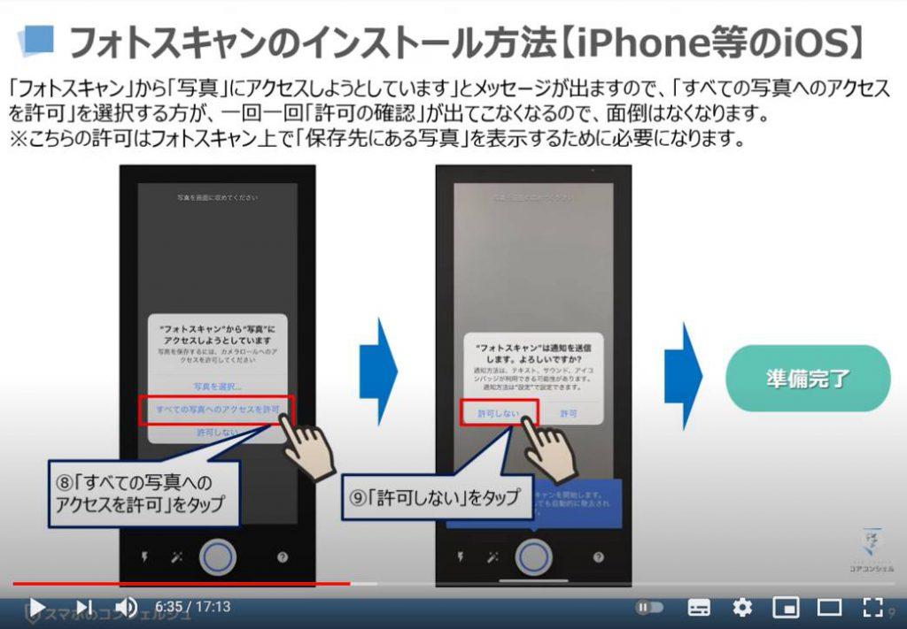 フォトスキャンの使い方:フォトスキャンのインストール方法(iPhone等のiOSの場合)・フォトスキャンから写真へのアクセスをしようとしています