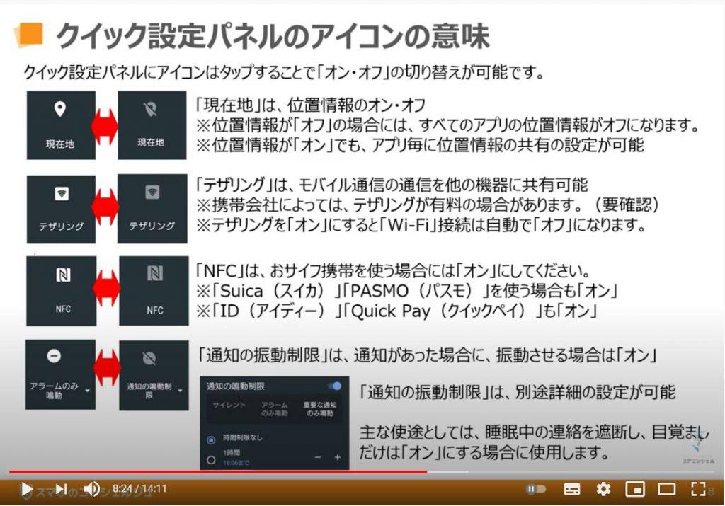 クイック設定パネルの使い方:クリック設定パネルのアイコンの意味(現在地・テザリング・NFC・通知の鳴動制限)