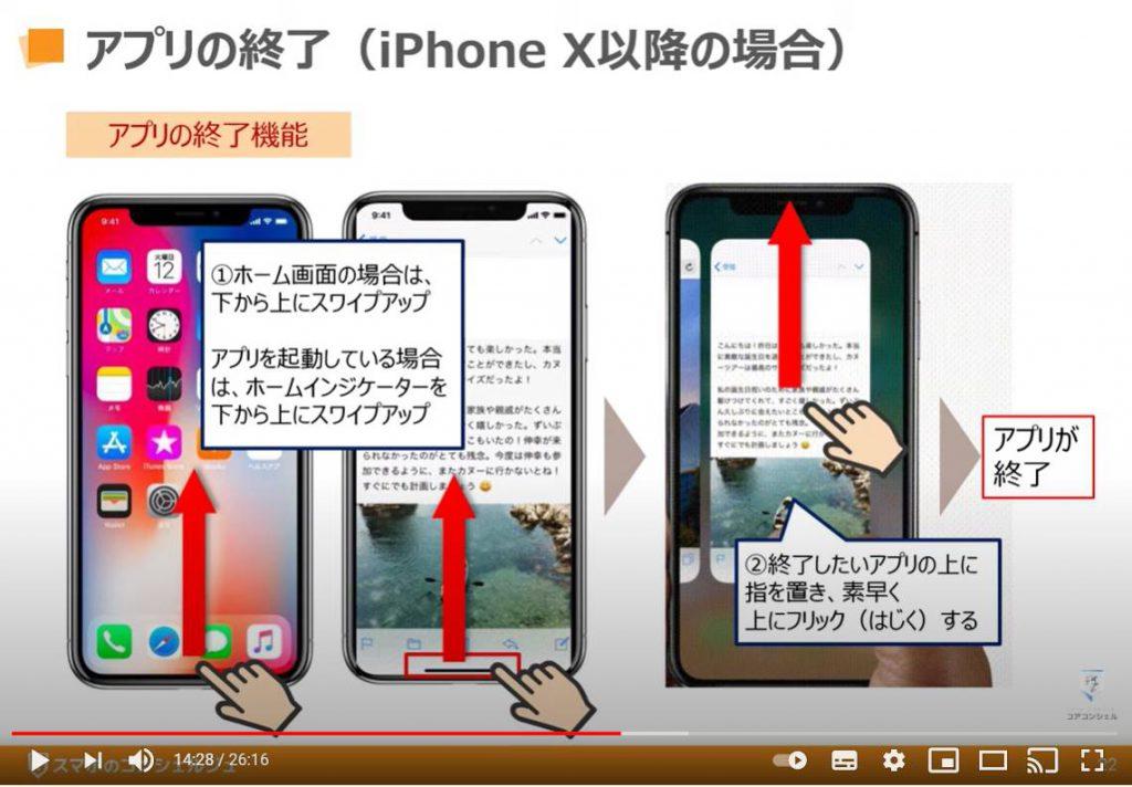 アプリのインストールと削除:アプリの終了(iPhone X以降の場合)