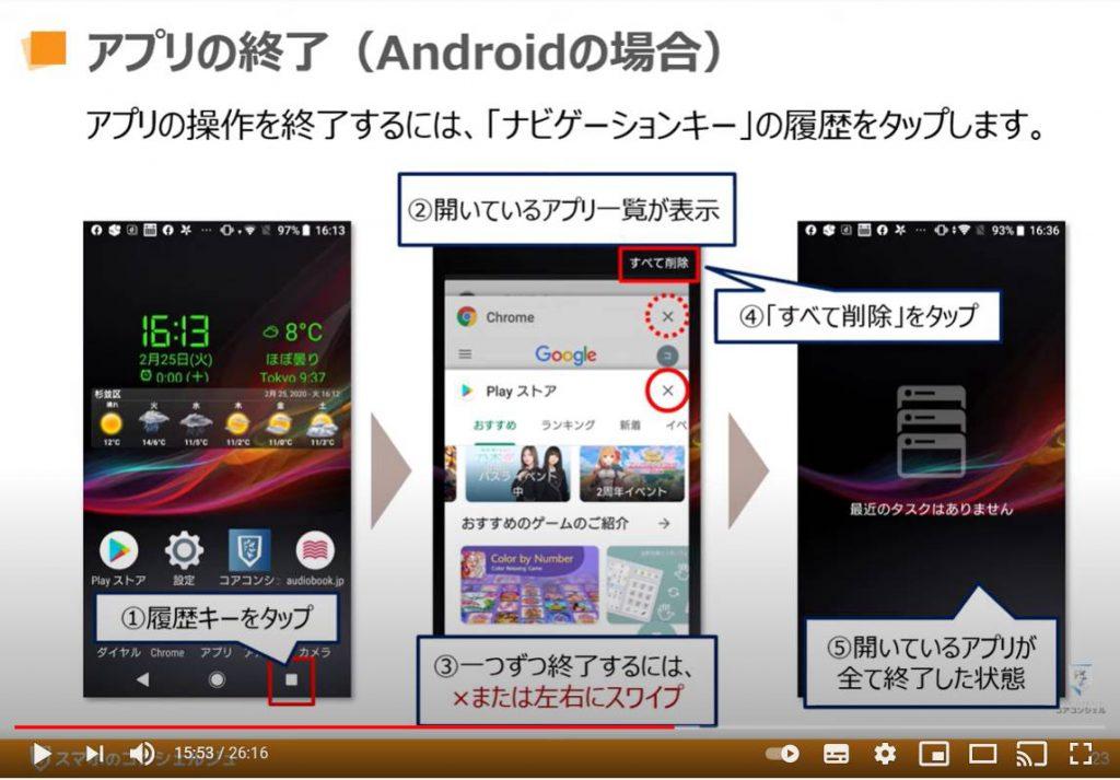 アプリのインストールと削除:アプリの終了(Androidの場合)