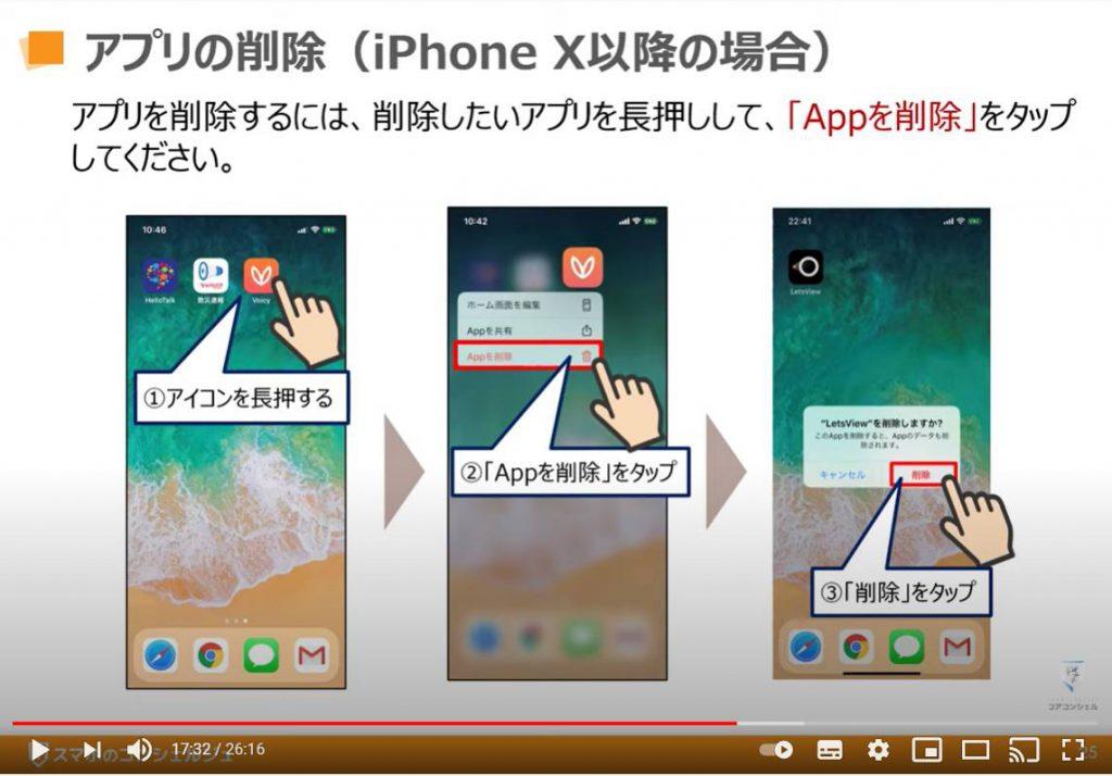 アプリのインストールと削除:アプリの削除(iPhone Xの場合)