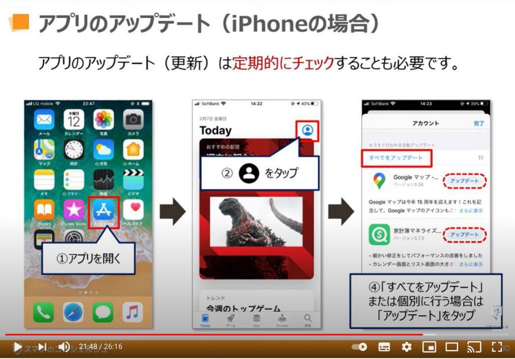 アプリのインストールと削除:アプリの更新(アップデート)方法「iPhone等のiOS端末の場合」