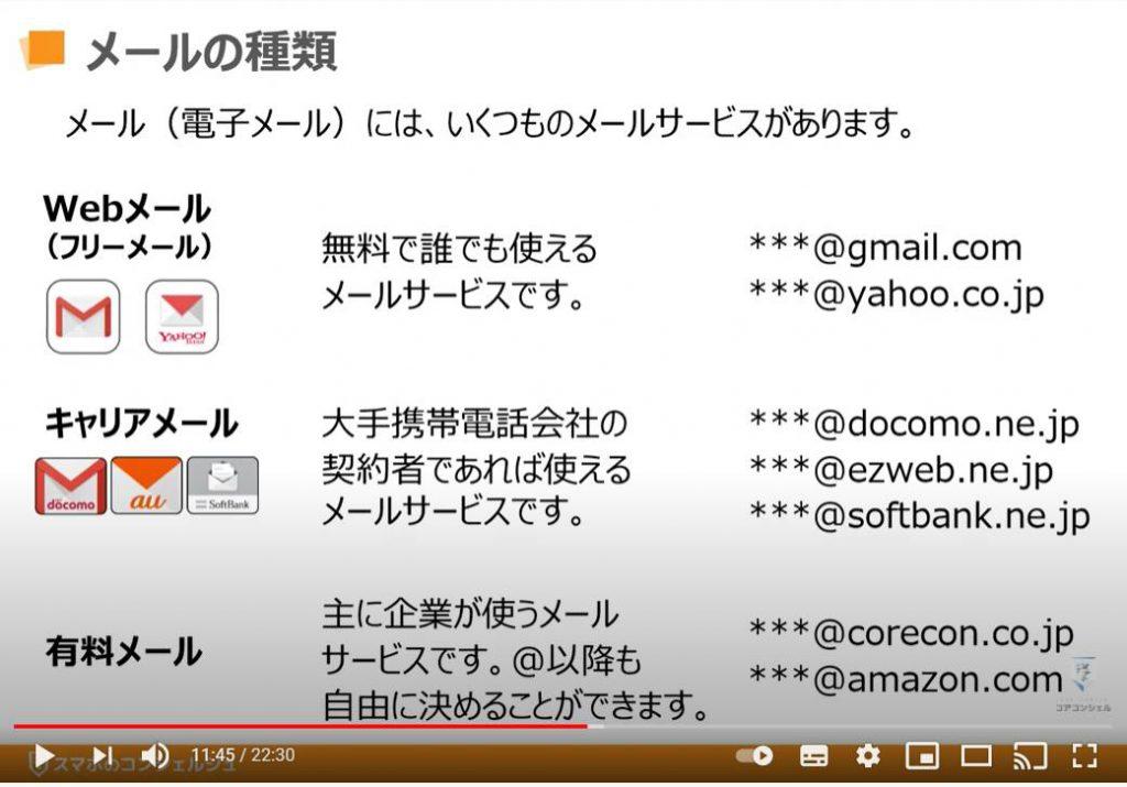 アカウント登録方法:メールの種類(Webメール・キャリアメール・有料メール)