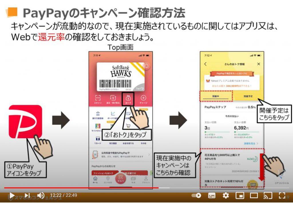 Paypay(ペイペイ)の使い方:PayPay(ペイペイ)のキャンペーン確認方法