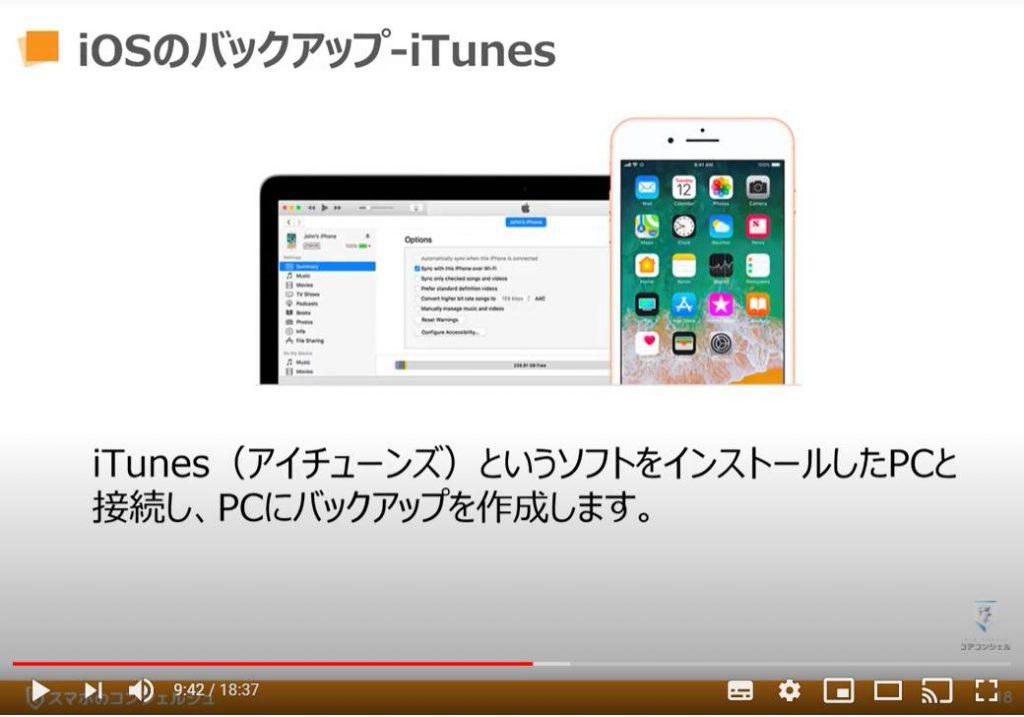 データのバックアップ(iPhone等のiOS端末の場合):iTUnesを利用した場合