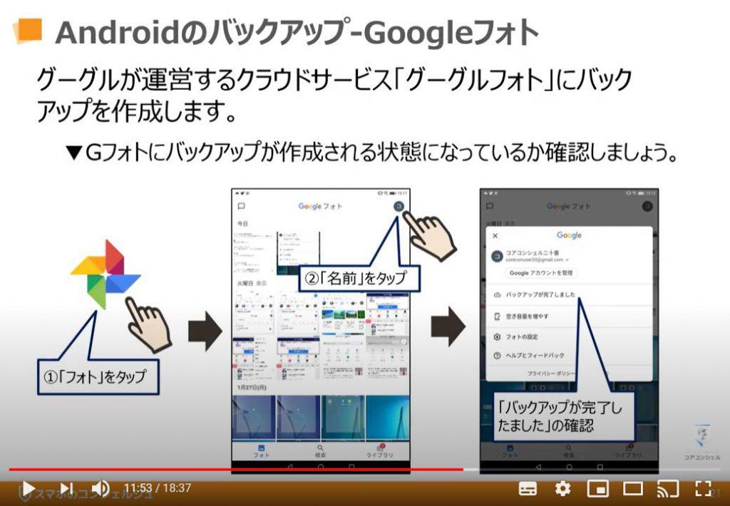データのバックアップ(Android端末の場合):Googleフォトへのバックアップ方法