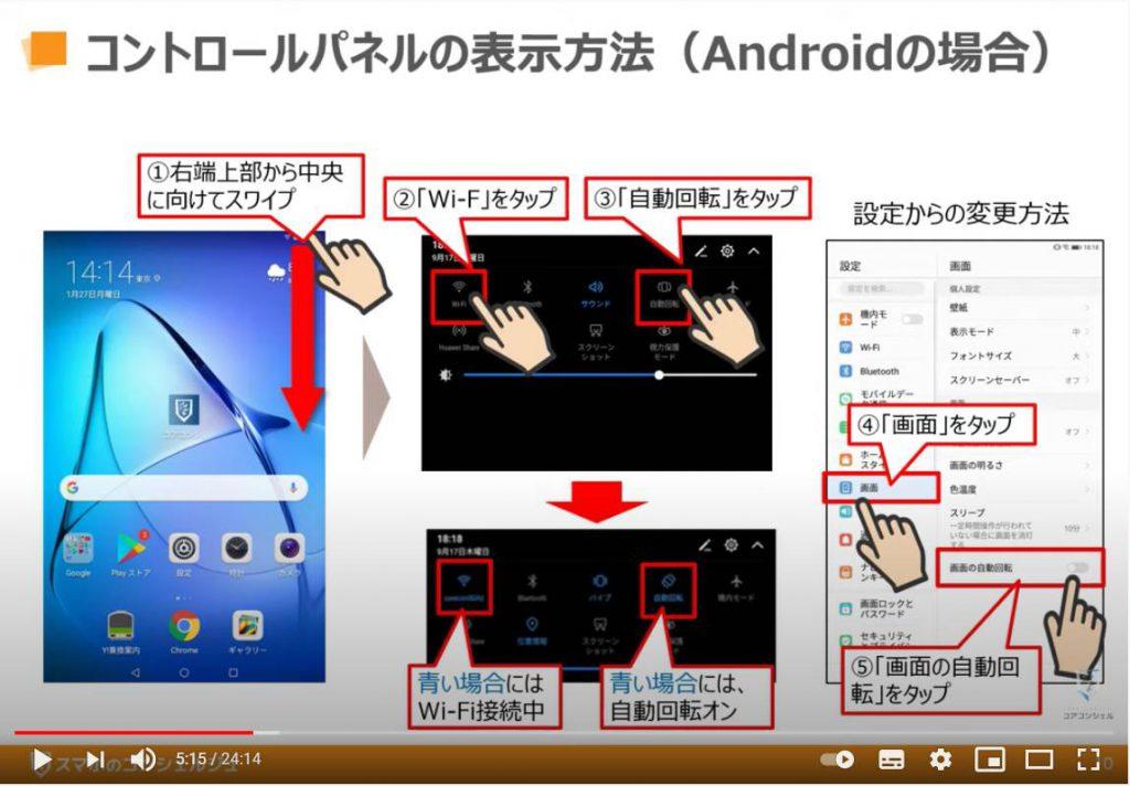 YouTube(ユーチューブ)の使い方:コントロールパネル(コントロールセンター)の表示方法「Android端末の場合」