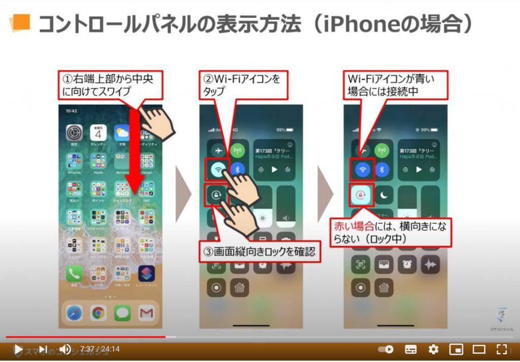 YouTube(ユーチューブ)の使い方:コントロールパネル(コントロールセンター)の表示方法「iPhone等のiOS端末の場合」