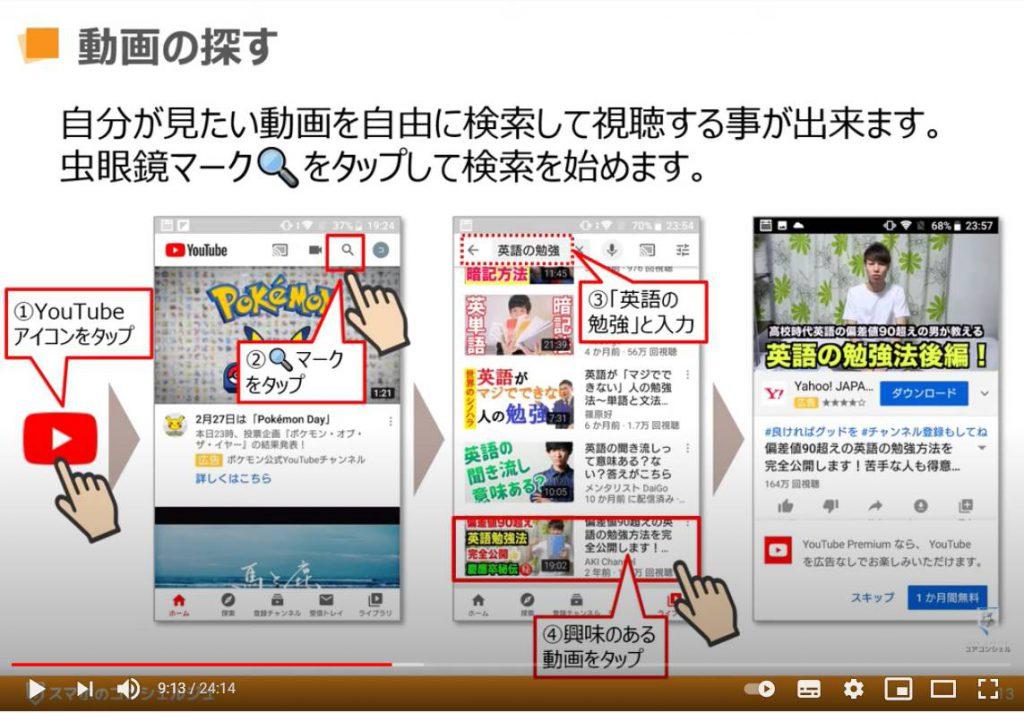 YouTube(ユーチューブ)の使い方:YouTube(ユーチューブ)で動画を探す方法