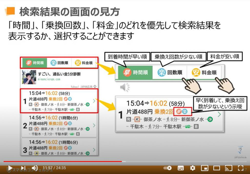 Yahoo!乗換え案内アプリの使い方:経路検索結果ページの見方(時間・乗換回数・料金)