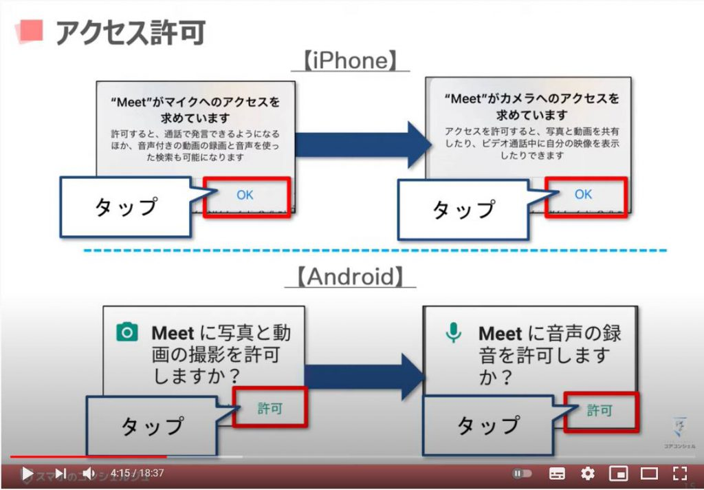 Google Meet(グーグルミート)の使い方:グーグルミートでビデオ通話を開始する方法(アクセス許可)