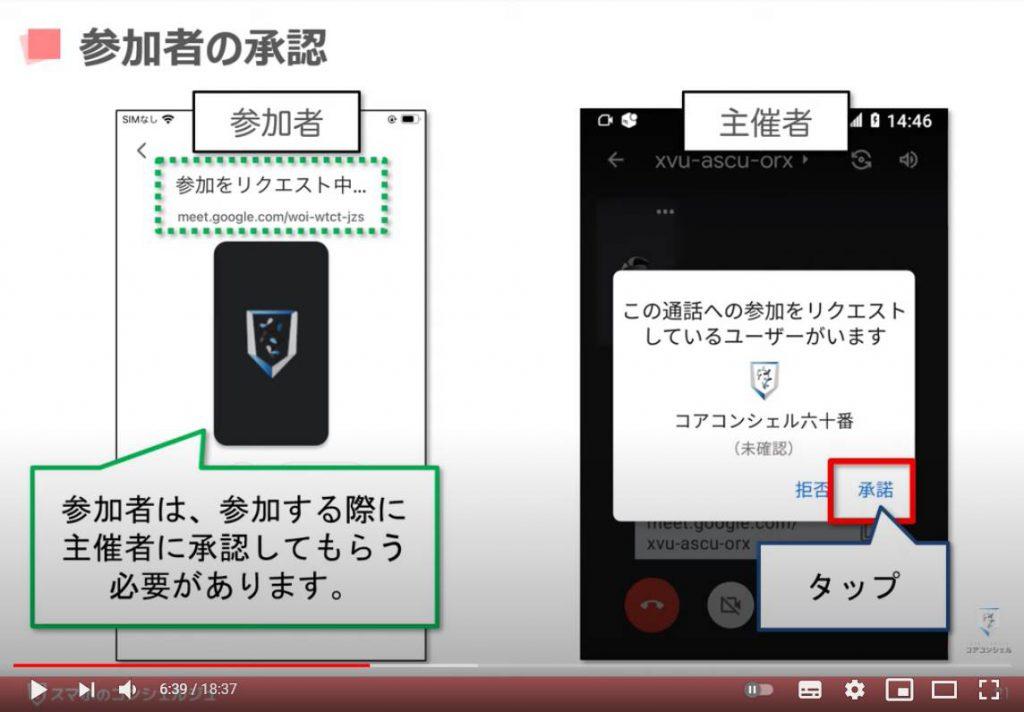 Google Meet(グーグルミート)の使い方:グーグルミートでビデオ通話を開始する方法(ビデオ通話に招待した側の承認方法)