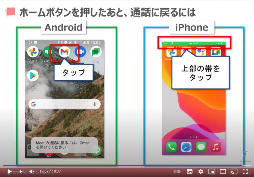Google Meet(グーグルミート)の使い方:グーグルミートでビデオ通話を開始する方法(ホームボタンを押したあと、通話に戻るには)