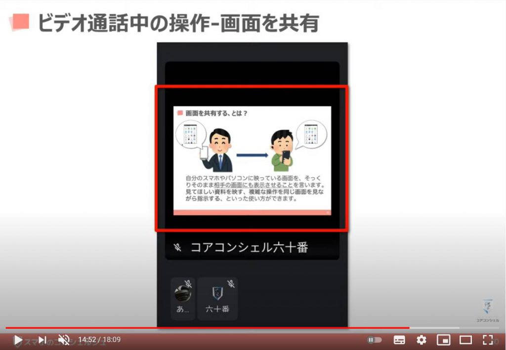 Google Meet(グーグルミート)の使い方:ビデオ通話中の操作方法(画面を共有)