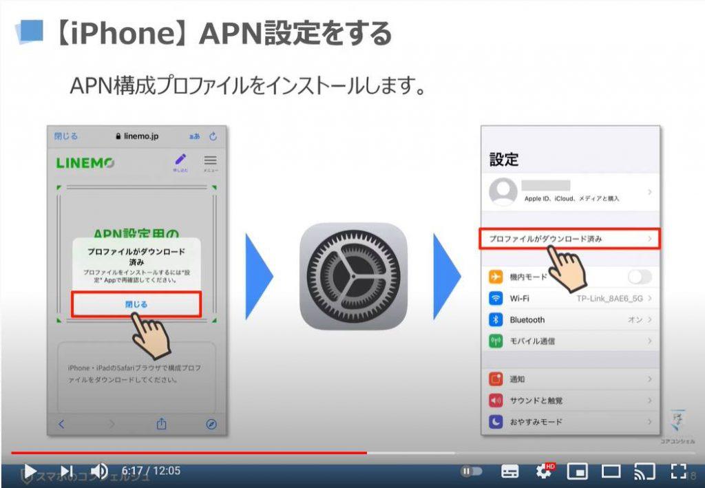 「LINEMO(ラインモ)の乗換手続き」回線切り替え・APN設定、My Menuの初期設定:LINEMO(ラインモ)の初期設定:iPhoneのAPN設定