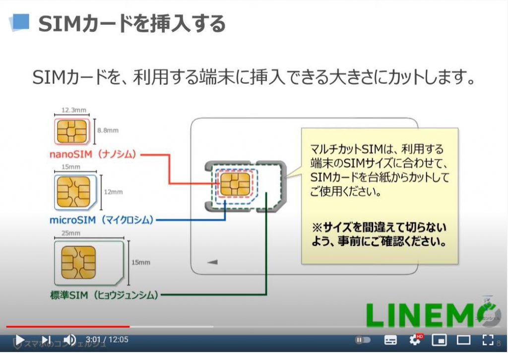 「LINEMO(ラインモ)の乗換手続き」回線切り替え・APN設定、My Menuの初期設定:LINEMO(ラインモ)の初期設定:SIMカード挿入