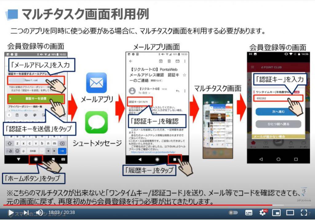 マルチタスク画面の表示方法 アプリの切替方法 アプリスイッチャーについて解説:マルチタスク画面の利用例(二段階認証)